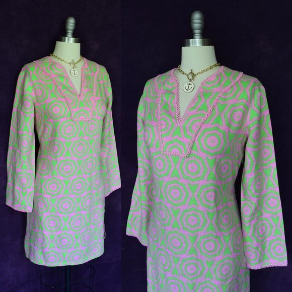 cb5e3a55e63 Sail to Sable Pink Green Tunic kaftan Dress. M 5b6357a345c8b36aac98b796